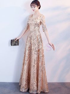 Elegant Gold V-neck Half Sleeve Hem Evening Dress Chiffon Dress Long, Lace Sheath Dress, Sequin Dress, Elegant Dresses, Cute Dresses, Prom Dresses, Formal Dresses, Formal Prom, Elegant Outfit