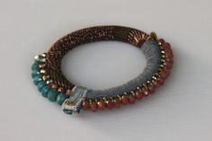 Bracelet Tissu et Perles Fantaisie - Toubab Paris