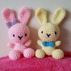 Awwe these little cuties They look happy   #bunnies #easter #crochet #crochetersofinstagram #crochetaddict #amigurumidoll #amigurumi #tejer #cute #love #rabbit #knit #yarn #yarnporn #handmade #craft #crafty #knittingaddict #knitting #knicanchet #pink #yellow #blue #purple #awesome