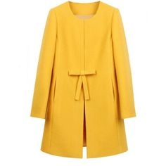 Sweet All-Match Solid Color Scoop Collar Bowknot Long Sleeves Slimming Woolen Coat For Women, YELLOW, XL in Jackets & Coats | DressLily.com