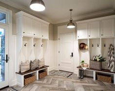 Mudroom. Mudroom Cubbies, mudroom lighting, mudroom Large Herringbone Floor…