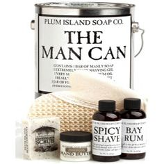 The perfect gift for the manly fellow! Chock full of 100% all natural skin care products created just for him!Cleverly packaged in a gallon paint can and topped off with a handy opener for easy access (and it just happens to double as a bottle opener!)