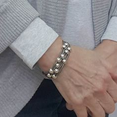 Women's Gray Leather Silver Beaded Bracelet. This is such a neutral color combination for a leather bracelet. You will wear this almost every day. #leatherbracelets #grayleatherbracelet #braceletsforwomen