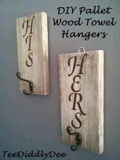 DIY His & Hers Pallet Wood Rustic Towel / Coat Hangers!