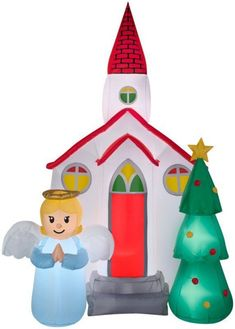 The Holiday Aisle Airblown Church Scene Inflatable for sale online Yard Inflatables, Christmas Inflatables, Outdoor Christmas Decorations, Holiday Decor, Christmas Angels, Christmas Tree, Christmas Clipart, Christmas Stuff, Xmas