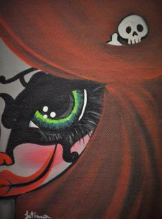 Clowngirl, mask, skull, big eyes, small smile...red hair, green eyes