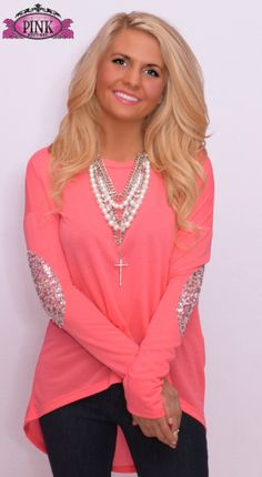 Neon Pink Everyday I'm Sparklin' Top $32.00