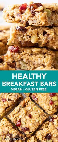 Easy Oatmeal Bars, Oatmeal Breakfast Bars Healthy, Oatmeal With Fruit, Healthy Bars, Healthy Cookies, Healthy Snacks, Healthy Baking, Healthy Cereal Bars, Breakfast Meals