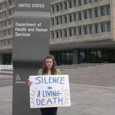 Writer Rivka Solomon, who has Myalgic Encephalitis -- also known as chronic fatigue syndrome -- protests federal inaction in Washington, D.C. (Courtesy)