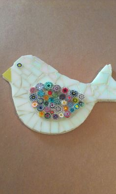 Synthia's White Iridescent Mosaic Bird.