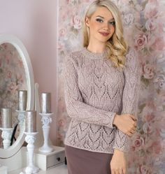 Free Knitting Patterns - Pullover in Lace Pattern Diy Crochet Sweater, Crochet Headband Free, Lace Knitting Patterns, Free Knitting, Diy Clothing, Drops Design, Free Clothes, Sweaters For Women, Arrow Keys