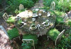 Alice in wonderland, the  Mad  hatter's tea table ? :)
