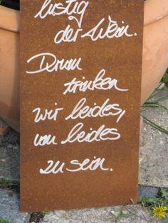 """Edelrost Schild mit Weinflasche und Glas """"Wasser und Wein"""", eine schöne Dekoration für Haus und Garten"""