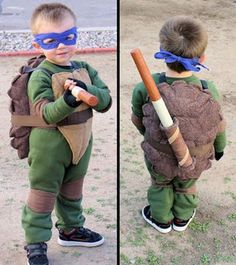 Teenage Mutant Ninja Turtles Costume (TMNT) Donatello kids costume. Wrap elbows, knees front armored plate and back fiber filled shell.