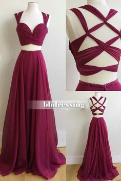 tow pieces chiffon prom dresses, party dresses, banquet dresses, formal gowns, sweet 16 dresses