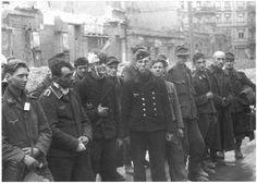 https://flic.kr/p/dYQjAy | 1945, Allemagne, Berlin, Groupe hétéroclite de POWs allemands dans les ruines de la ville (jeunes, vieux, blessés, sales, épuisés, ...)