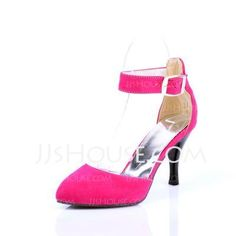 Pumps -  Velvet Cone Heel Closed Toe Pumps With Buckle (085024011) http://jjshouse.com/Velvet-Cone-Heel-Closed-Toe-Pumps-With-Buckle-085024011-g24011