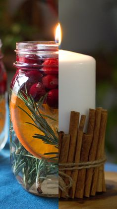Diy Crafts For Home Decor, Jar Crafts, Diy Crafts To Sell, Holiday Crafts, Holiday Decor, Christmas Centerpieces, Christmas Decorations, Candle Craft, Diy Weihnachten