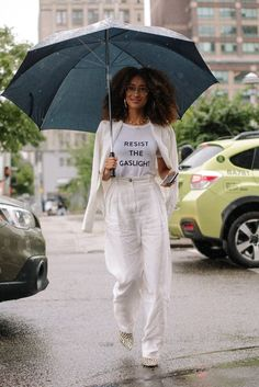 On the street at #NYFW. #streetstyle #allwhite