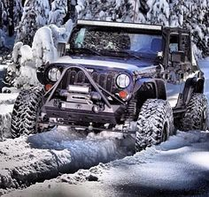 Off-road jeep in the snow