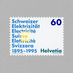 Centenary of Swiss Association of Electricity Producers and Distributors. Switzerland, 1995. Design: Georg Staehelin. #mnh #mintneverhinged #mnh_che #postagestamps #swiss #switzerland #helvetia