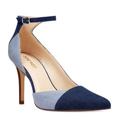Nine West Forgiven Half D'orsay Pumps ($70) ❤ liked on Polyvore featuring shoes, pumps, navy multi denim, d'orsay pumps, navy pumps, navy blue pumps, ankle strap shoes and ankle strap d orsay pump