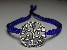 Tree bracelet with blue satin  nylon thread by ByKarianne on Etsy, kr55.00