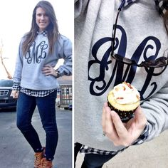 gingham shirt   monogrammed sweatshirt   dark skinny jeans   Bean ...