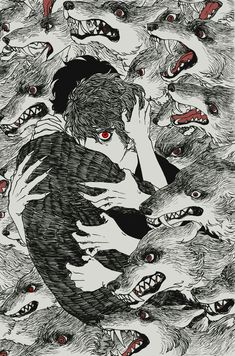 Wolf monster black dog dark horror black and white illustration Arte Horror, Horror Art, Art And Illustration, Black And White Illustration, Art Sketches, Art Drawings, Character Art, Character Design, Arte Obscura
