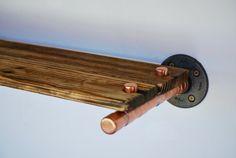 Kupferrohr Regal, Kupfer und aufgearbeiteten Regale, Altholz und Kupfer Regal, handgefertigt, neu gewonnenem Holz, industrielle Einrichtung modernen chic