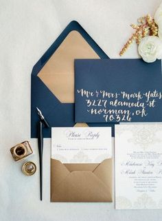 dark blue gold vintage wedding invitations / http://www.deerpearlflowers.com/navy-blue-and-gold-wedding-color-ideas/2/