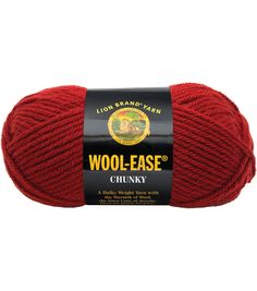 Lion Brand Wool-Ease Chunky YarnLion Brand Wool-Ease Chunky Yarn, Composition: 80% acrylic and 20% wool Weight Category: 5 Weight: 5 oz; 153 yards Knit Gauge: 4 in = 14 stitches on size 10-1/2 needles Recommended Crochet Hook Size: K10-1/2 Care: Machine wash and dry; do not iron or bleach The manufacturer tries to match dye lots but they are not guaranteed. $7.99.