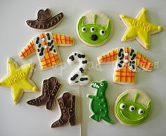 toy story cookies | Toy Story torta + cookies. Toy Story Theme, Toy Story Birthday, Toy Story Party, Iced Cookies, Sugar Cookies, Toy Story Cookies, Bakery Cakes, Homemade Cookies, Birthday Cookies