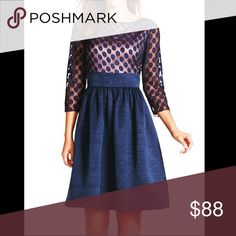 Eliza J Dot Mesh Bodice Fit & Flare - Navy Flattering and comfortable dress with pockets! Can be worn with a regular bra. Show stopper! Worn once. Eliza J Dresses Long Sleeve