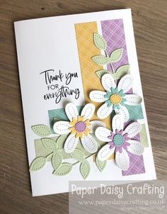 Paper Daisy Crafting: Pierced Blooms Thank You card for Facebook Live with Come Crafting with Jill & Gez Thank You Gifts, Thank You Cards, Paper Daisy, Mini Album Tutorial, For Facebook, Large Flowers, Mini Albums, Stuff To Do, Stampin Up