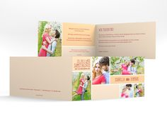 """Hochzeitseinladung """"Gallery"""" in apricot - Eine Galerie des Brautpaares"""