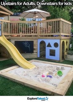 Makes me wish we had a deck instead of a patio! Two tier Deck with Children's Play Area. Make use of the space below your deck!