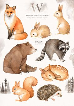 Wald wunderland aquarell clip art wald tiere kinder clipart boho clipart kinderzimmer dekor tiere clipart fuchs reh hase br east urban home woodland friends wild animal fox square framed graphic art print Watercolor Trees, Watercolor Animals, Kids Watercolor, Watercolor Background, Watercolour, Forest Animals, Woodland Animals, Woodland Art, Jungle Animals