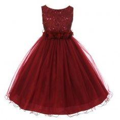 Little Girls Burgundy Sequin Tulle Flower Sparkle Special Occasion Dress 2-6