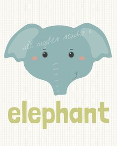 Elephant Nursery Print/Kids room Art Download 8x10