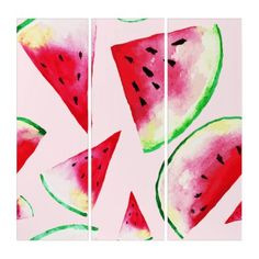 Shop Watercolor Watermelon Slice Pattern Panel Wall Art created by Food_and_Drinks. Triptych Wall Art, Panel Wall Art, Wall Art Sets, Wood Wall Art, Create Your Own, Create Yourself, Watercolor On Wood, Watercolor Paintings, Watermelon Slices