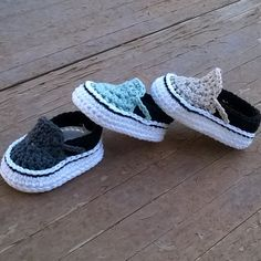 Discover thousands of images about Ravelry: Vans style baby sneakers pattern by Showroom crochet Crochet For Boys, Crochet Baby Booties, Crochet Slippers, Basic Crochet Stitches, Crochet Basics, Crochet Style, Estilo Vans, Baby Patterns, Crochet Baby Dresses