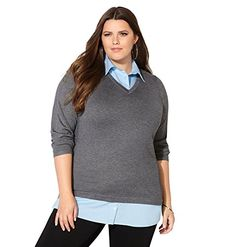 dd378105c0252 AVENUE Womens VNeck 2fer Sweater 1416 Light Grey    Check this awesome  product by going. Plus Size TopsPlus ...