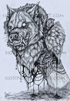 Werewolf head by siosin