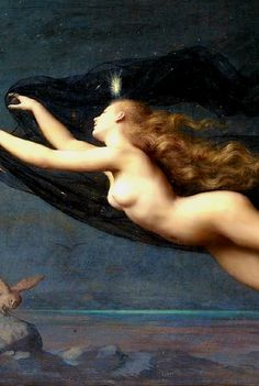 auguste raynaud (1854 - 1937) night (detail) she washes away the light so all can find rest in a shelter away from most predators