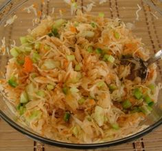 Looking for a different side dish to serve with dinner?? Try this super easy Sauerkraut Salad Recipe. Low fat - vegan - gluten free recipe.