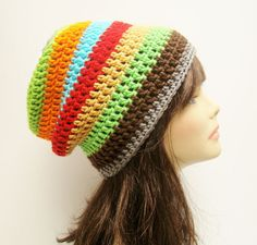 FREE SHIPPING - UNISEX Slouchy Crochet Beanie Hat - Multi, Rainbow, White, Gray, Lime Green, Orange, Teal Blue, Red, Gold, Brown. $25.00, via Etsy.