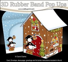 3D Rubber Band Pop Up Christmas Card - Pip Penguin & Friend Deliver Presents To The Christmas Gingerbread House