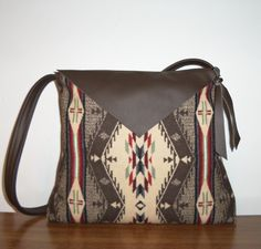 Brown Leather and Wool Purse Shoulder Bag