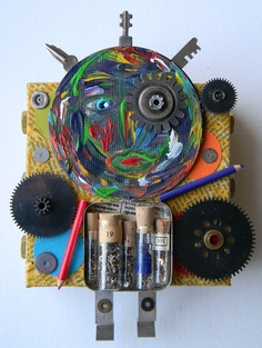 """""""He knew the gears were taking over""""-Recycled art collage"""